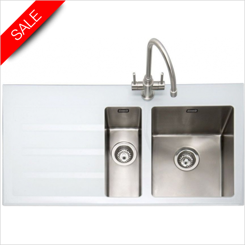 Caple Sinks - Vitrea 150 Inset Sink With LH Drainer
